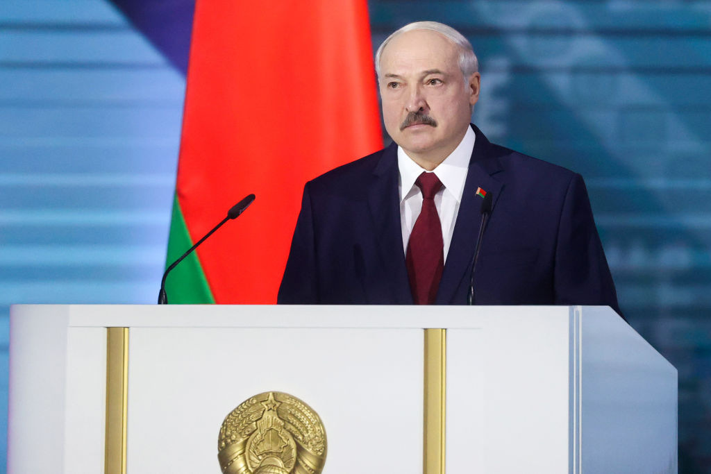 President Alexander Lukashenko delivers his annual address to the Belarusian people and National Assembly at the Palace of the Republic.