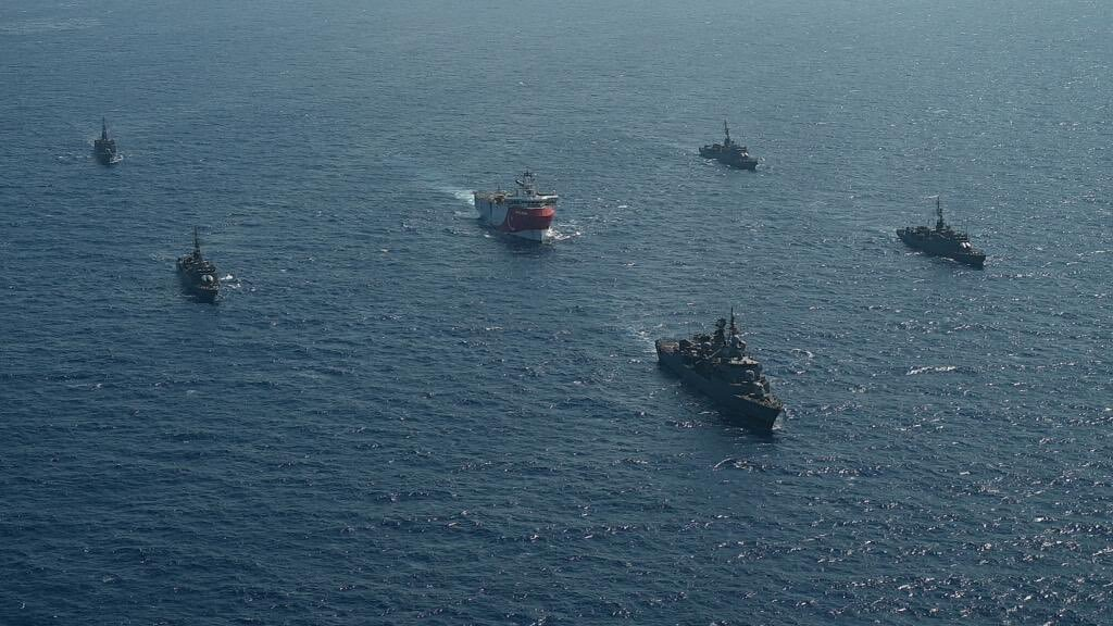 Turkey's MTA Oruc Reis seismic vessel, which is escorted by Turkish navy, is seen offshores of Eastern Mediterranean on August 10, 2020.