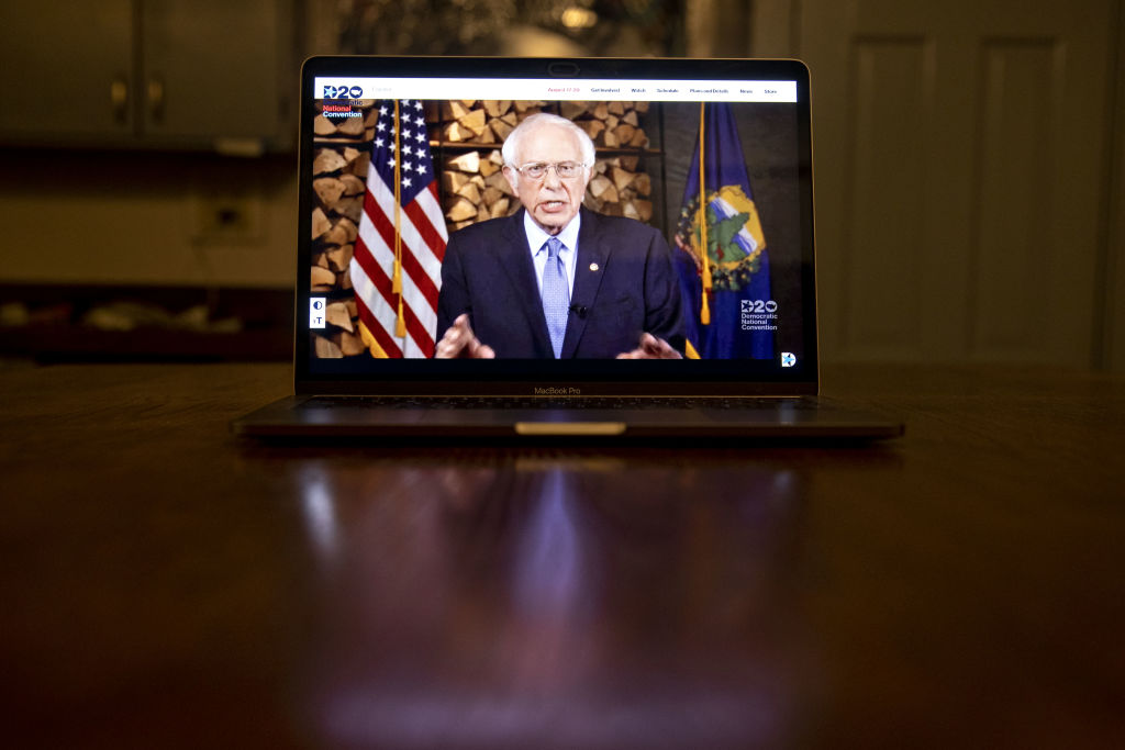 Senator Bernie Sanders, an independent from Vermont, speaks during the virtual Democratic National Convention seen on a laptop computer in Tiskilwa, Illinois, U.S., on Aug. 17, 2020.