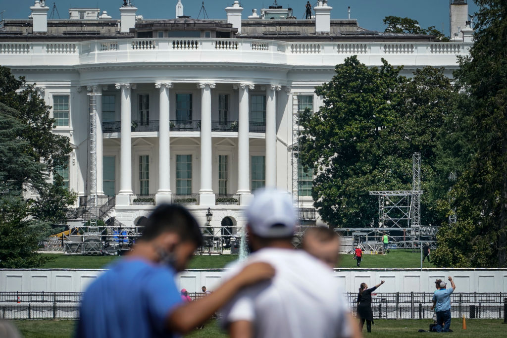 A stage is under construction on the South Lawn of the White House where President Donald Trump is expected to accept his party's nomination for president and speak to the Republican National Committee convention in Washington, D.C.