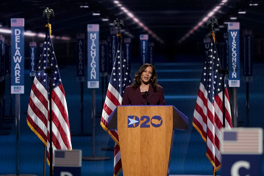 Senator Kamala Harris, Democratic vice presidential nominee, speaks during the Democratic National Convention at the Chase Center in Wilmington, Delaware, on Aug. 19, 2020.
