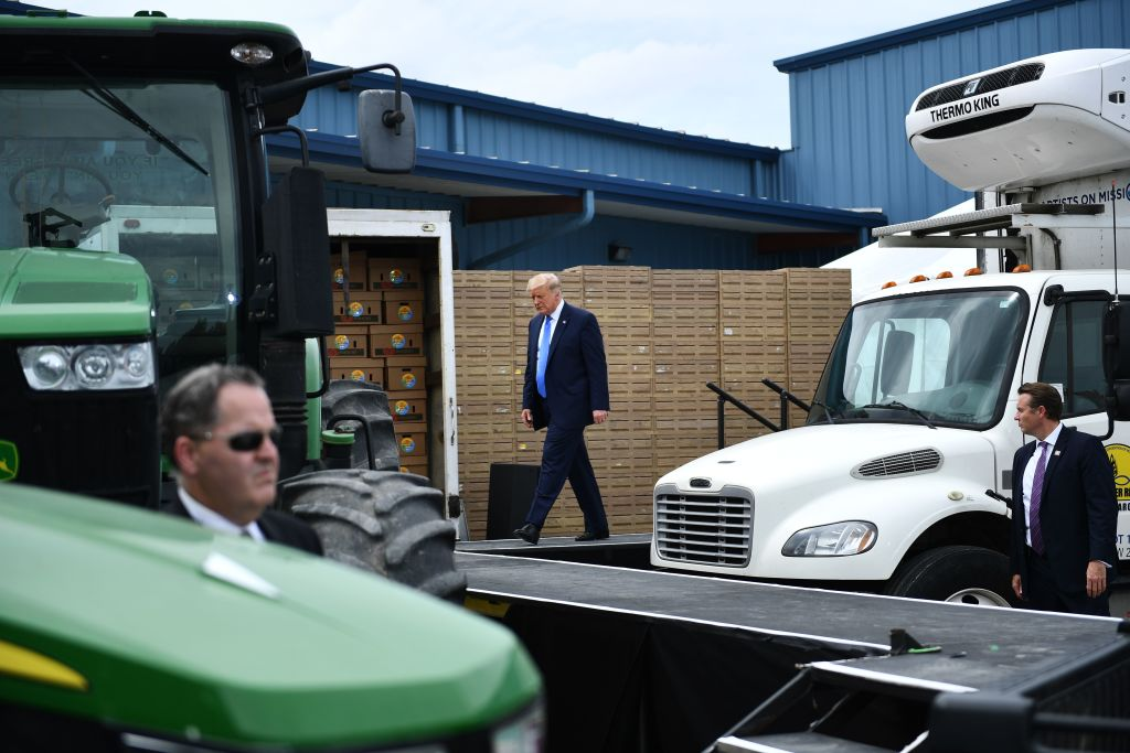 US President Donald Trump arrives to deliver remarks on Farmers to Families Food Box Program Distribution in Mills River, North Carolina on August 24, 2020.