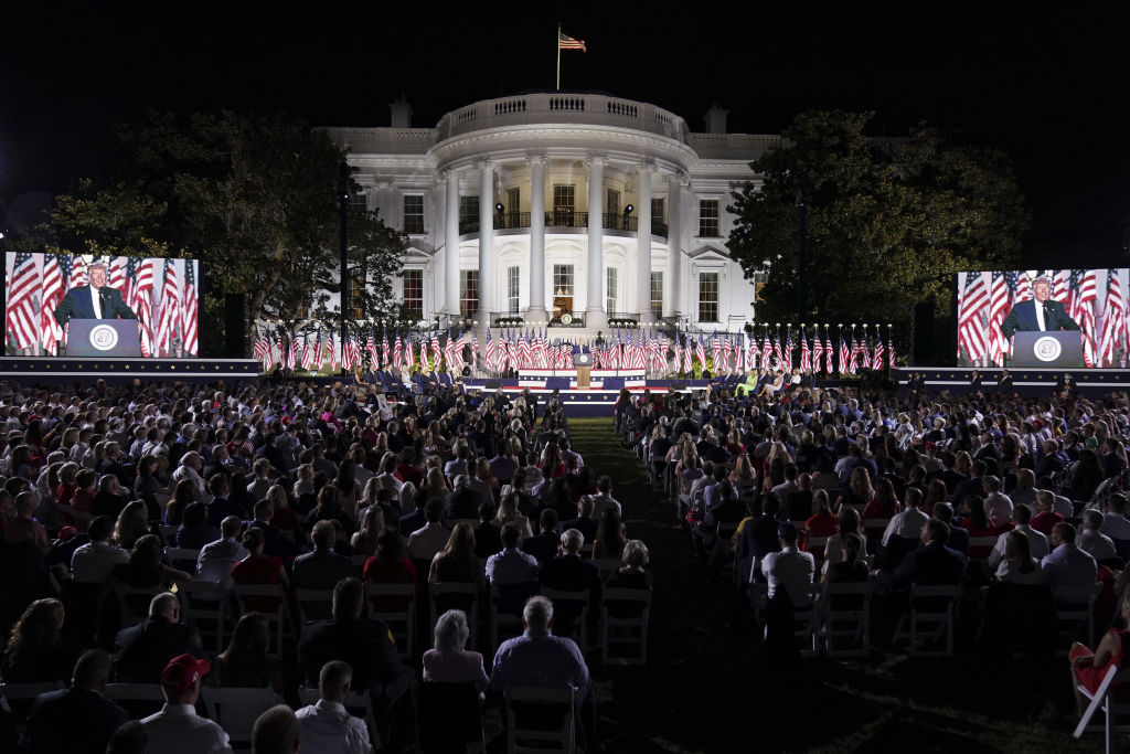 U.S. President Donald Trump speaks during the Republican National Convention on the South Lawn of the White House in Washington, D.C., on August 27, 2020.