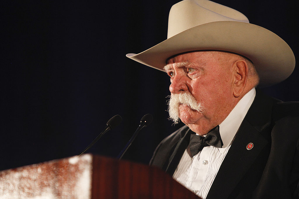 Actor Wilford Brimley speaks on stage at the 50th Anniversary Stuntmens Gala Honoring Harrison Ford on September 24, 2011 in Universal City, California.