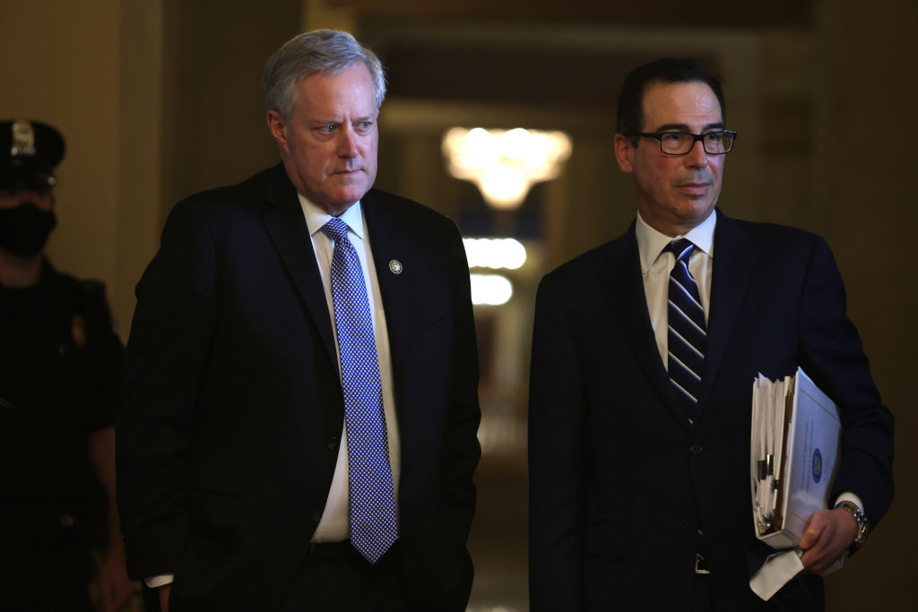 Treasury Secretary Steven Mnuchin and White House Chief of Staff Mark Meadows  at the U.S. Capitol on August 4.