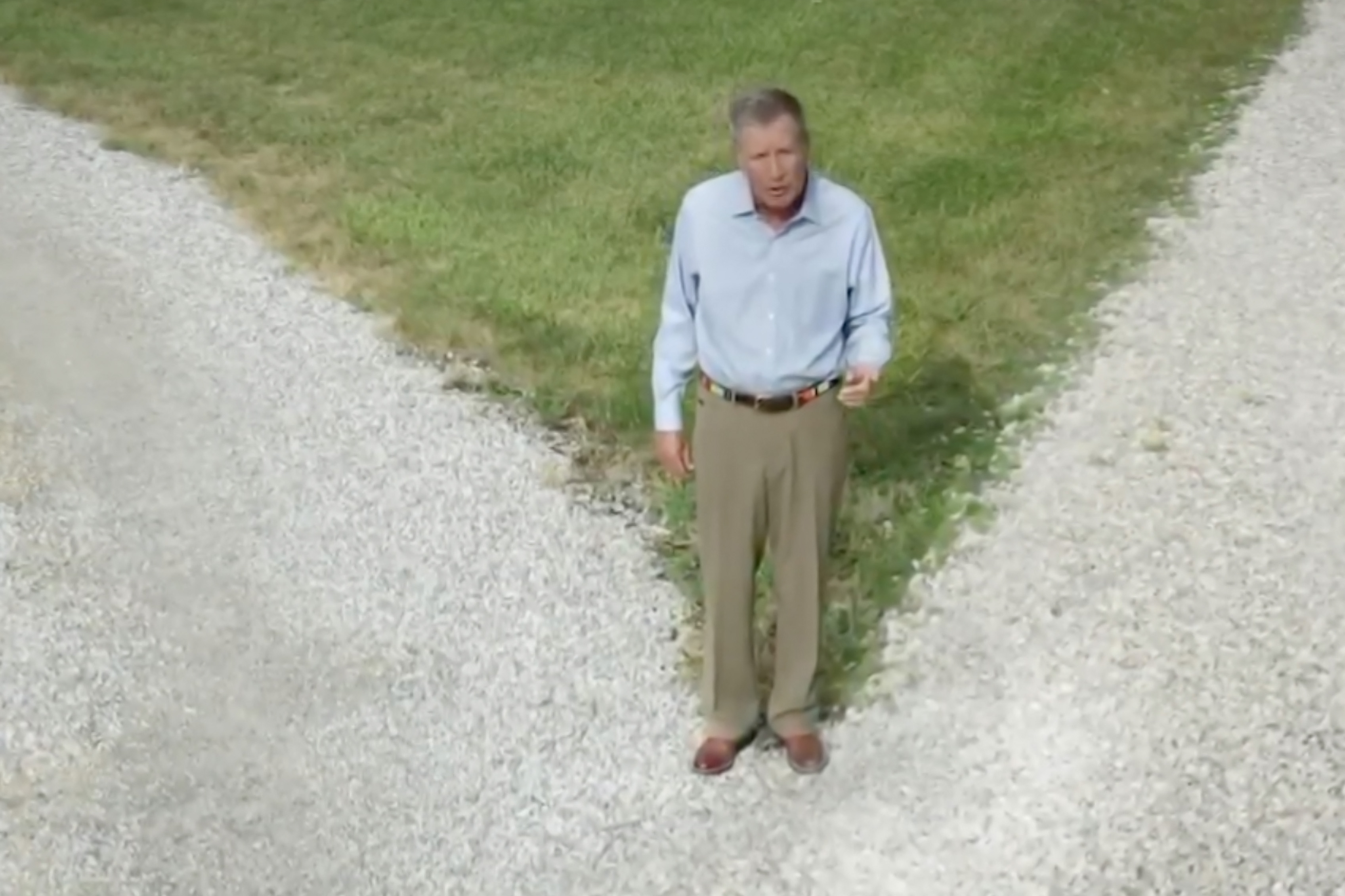 In this screenshot from the DNCC's livestream of the 2020 Democratic National Convention, Republican, Former Ohio Governor John Kasich addresses the audience from a literal crossroads.