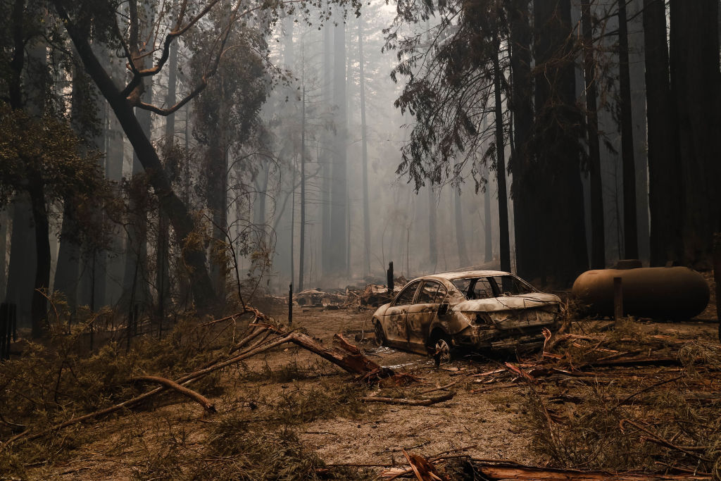 A structure and car near the Big Basin Redwoods State Park Headquarters & Visitor Center is burned down in Boulder Creek, Calif., on Thursday, Aug. 20, 2020.