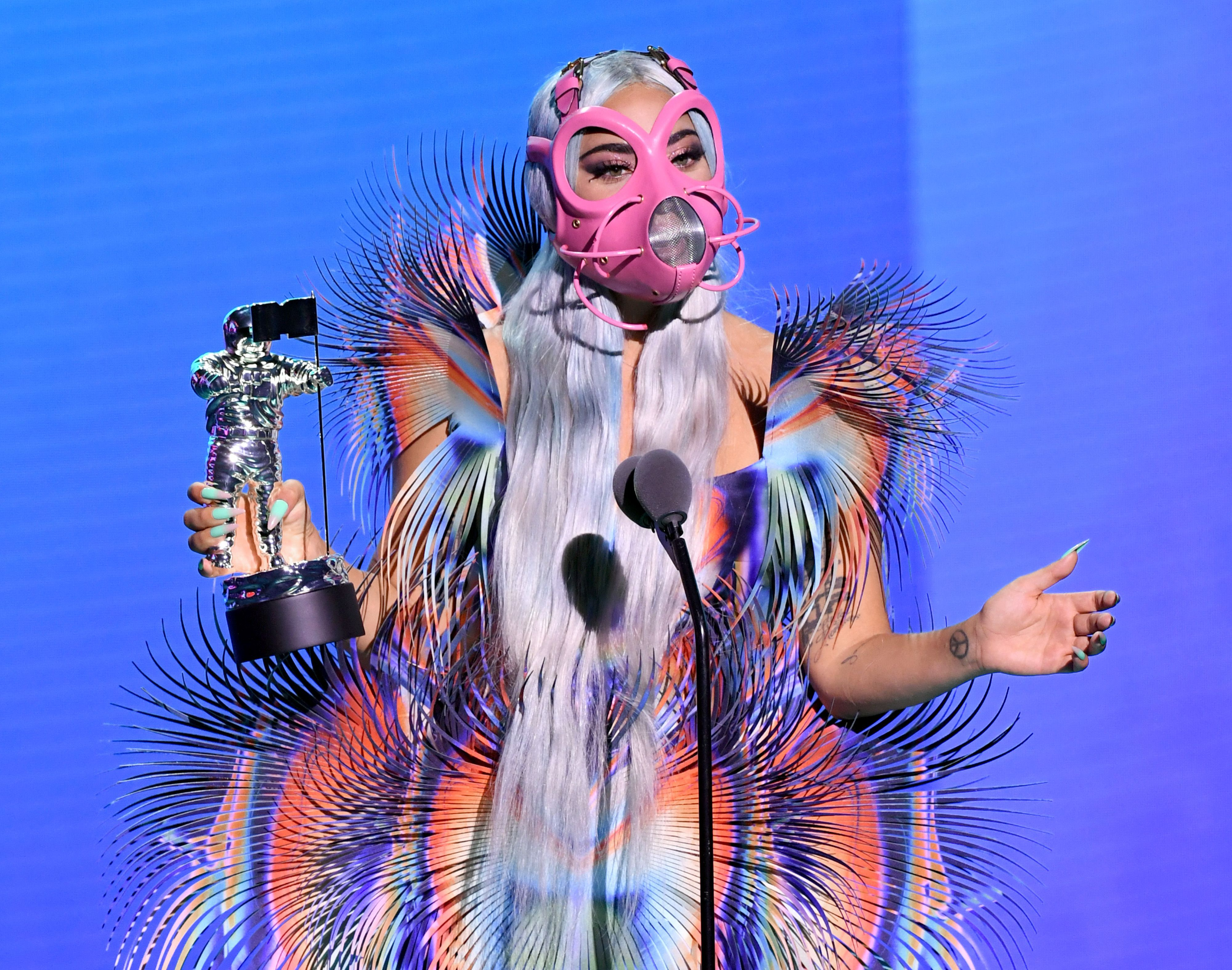 Lady Gaga accepts the Best Collaboration award for  Rain on Me  with Ariana Grande onstage during the 2020 MTV Video Music Awards.