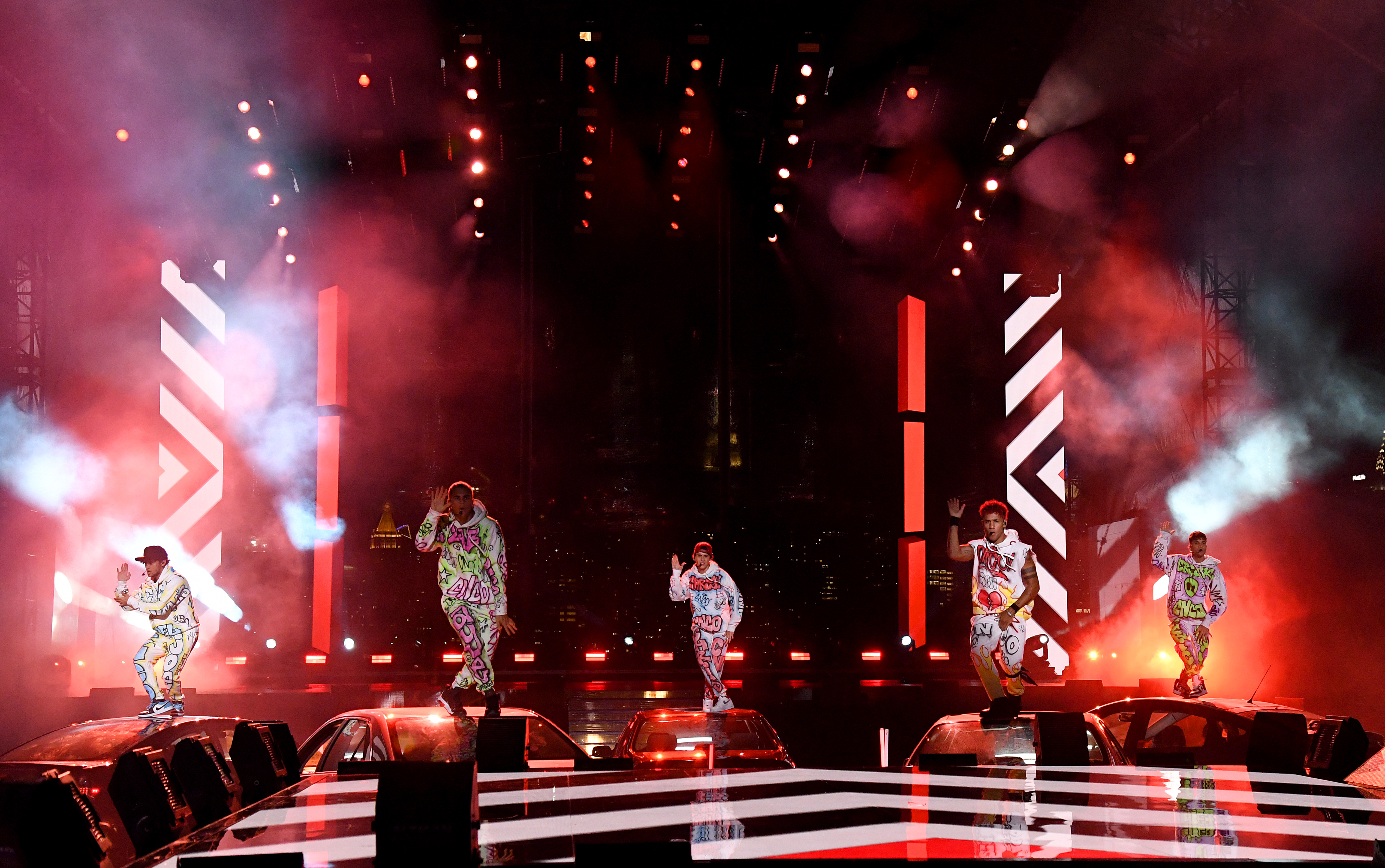 CNCO performs at the 2020 MTV Video Music Awards at the Skyline Drive-In in New York City.