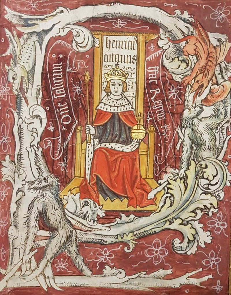 Image of Henry VIII taken from the records of the court of King's Bench in Trinity term 1518. The legal term was severely disrupted by the outbreak of plague in both London and Oxford, originally sitting in Oxford but later adjourned back to London.