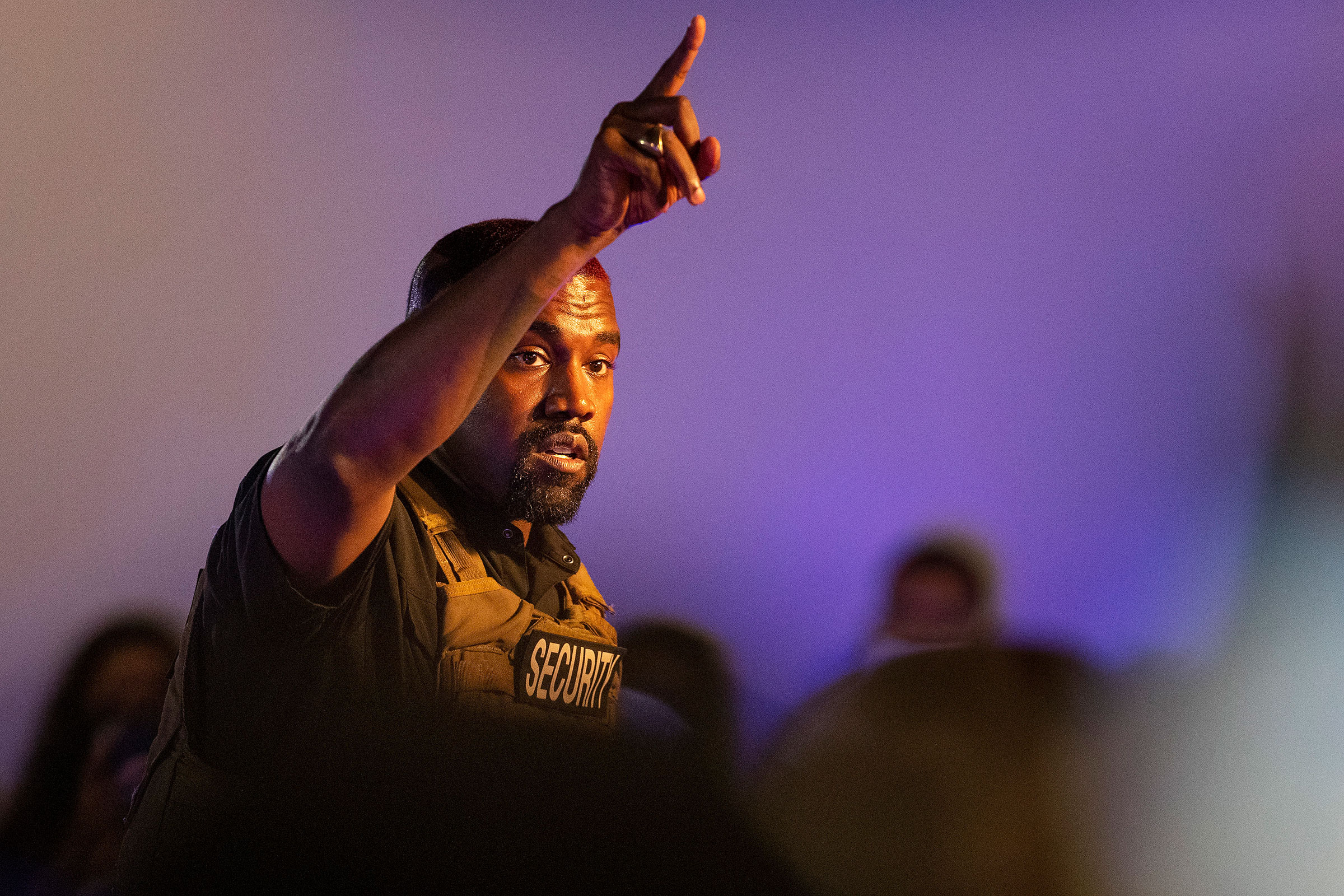 Kanye West makes his first presidential campaign appearance, in North Charleston, S.C. on July 19, 2020.