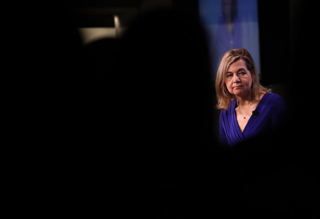 Washington Post Media Columnist Margaret Sullivan participates in a discussion on  Americans and the Media: Sorting Fact from Fake News  January 23, 2018 in Washington, DC.
