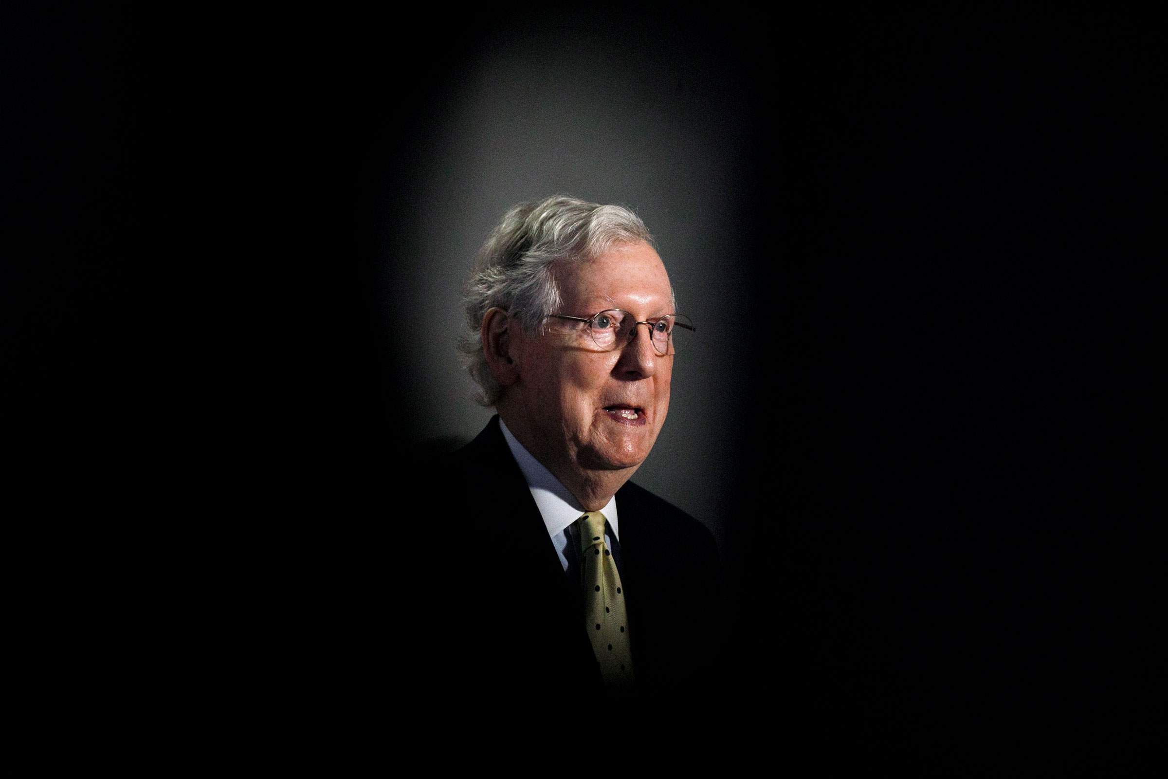 Senate Majority Leader Mitch McConnell of Ky., speaks during a news conference after attending a Republican luncheon on Capitol Hill in Washington on July 21, 2020.