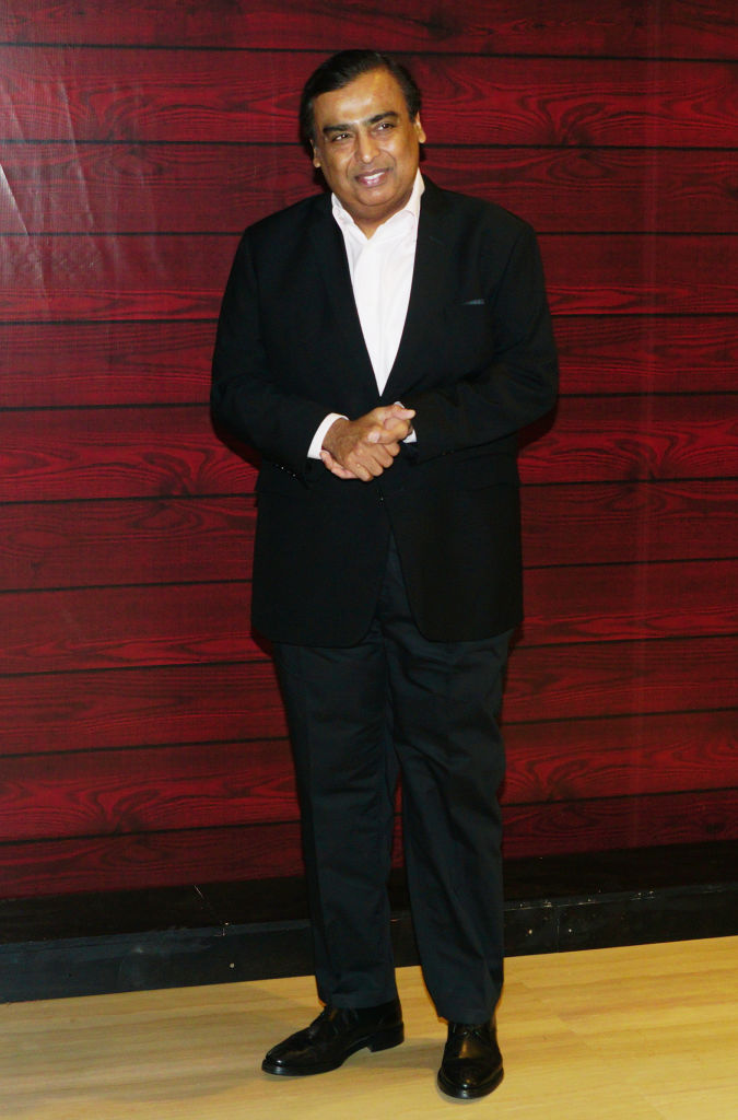 Mukesh Ambani attends the Javed Akhtar's 75th birthday celebration on Jan. 17, 2020 in Mumbai, India.
