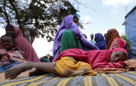 Somalis families, displaced after fleeing Southern Somalia amid an uptick in U.S. airstrikes, rests at an IDP camp near Mogadishu, on Mar. 12, 2020.