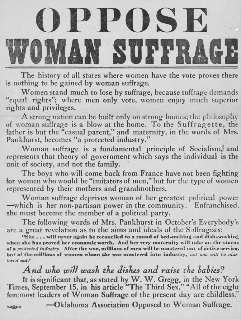 A circa 1918 anti-suffrage poster or broadside, issued by the Oklahoma Association Opposed to Woman Suffrage.
