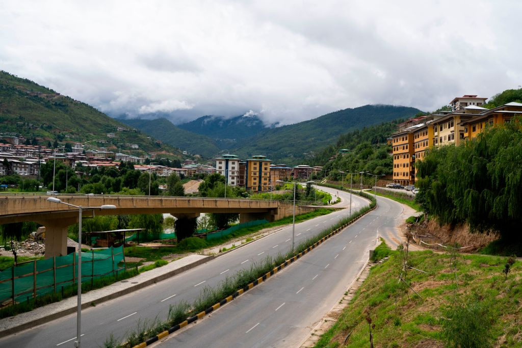 A deserted road is seen during a nationwide lockdown imposed as a preventive measure against COVID-19 in Thimpu, Bhutan on Aug. 13, 2020.