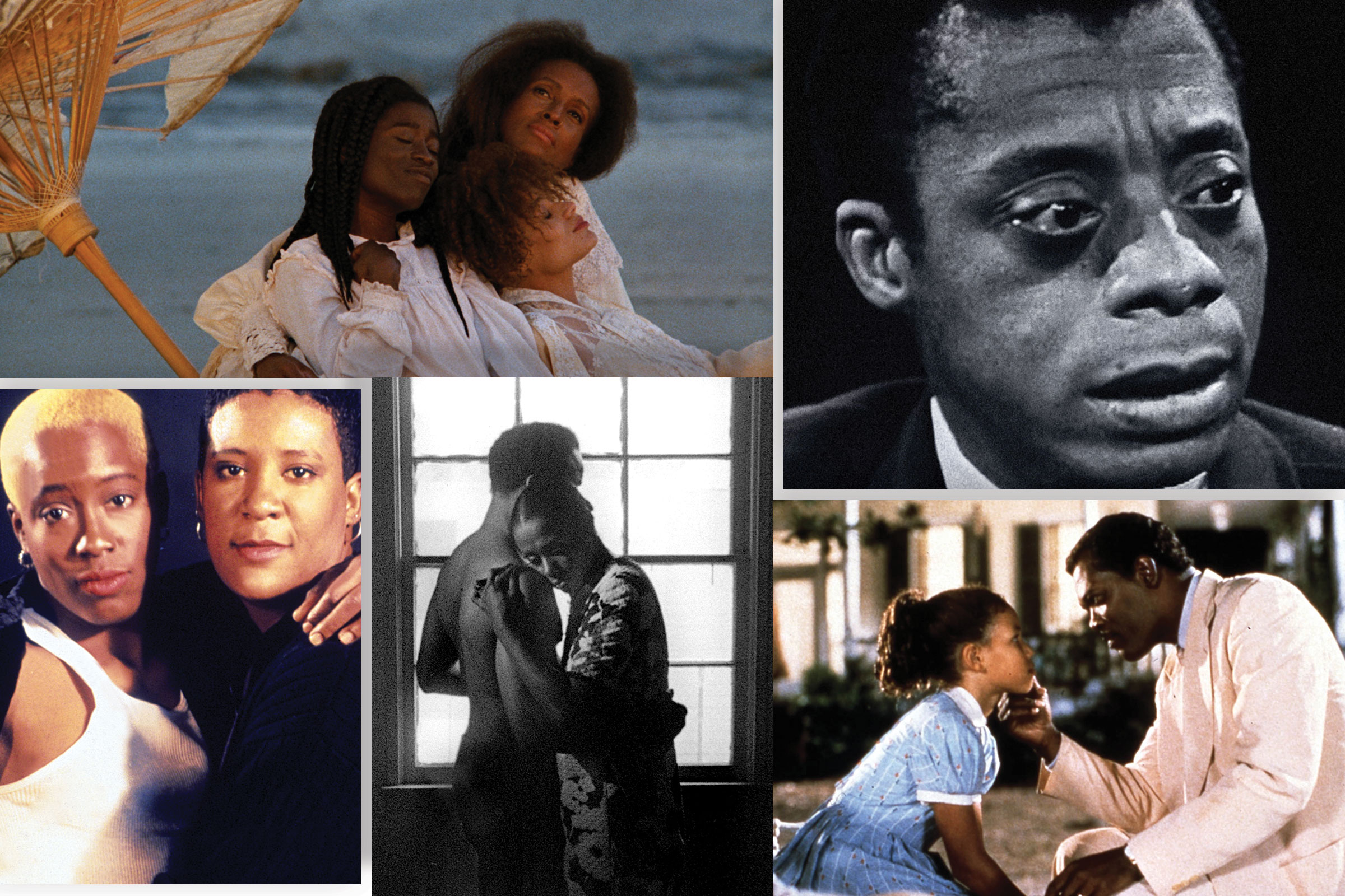 Clockwise from top left: Daughters of the Dust, I Am Not Your Negro, Eve's Bayou, Killer of Sheep, The Watermelon Woman