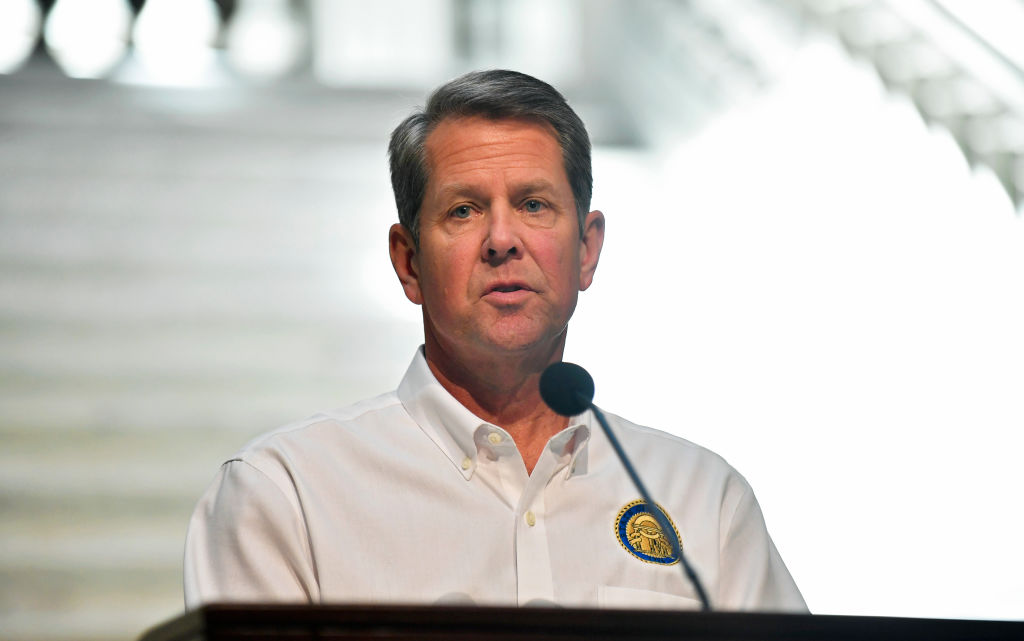 Georgia Gov. Brian Kemp speaks to members of the media during a coronavirus press conference in the Georgia State Capitol in Atlanta on May 7, 2020.
