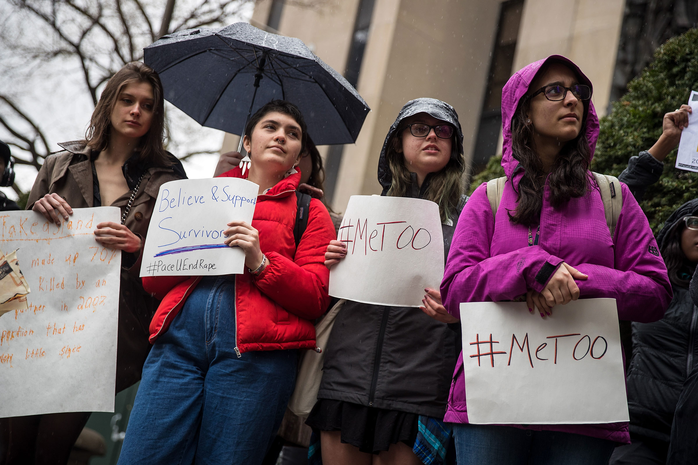 A small group of student activists from Pace University hold a rally against sexual violence after walking out of their classes on the campus of Pace University, on April 19, 2018 in New York City.