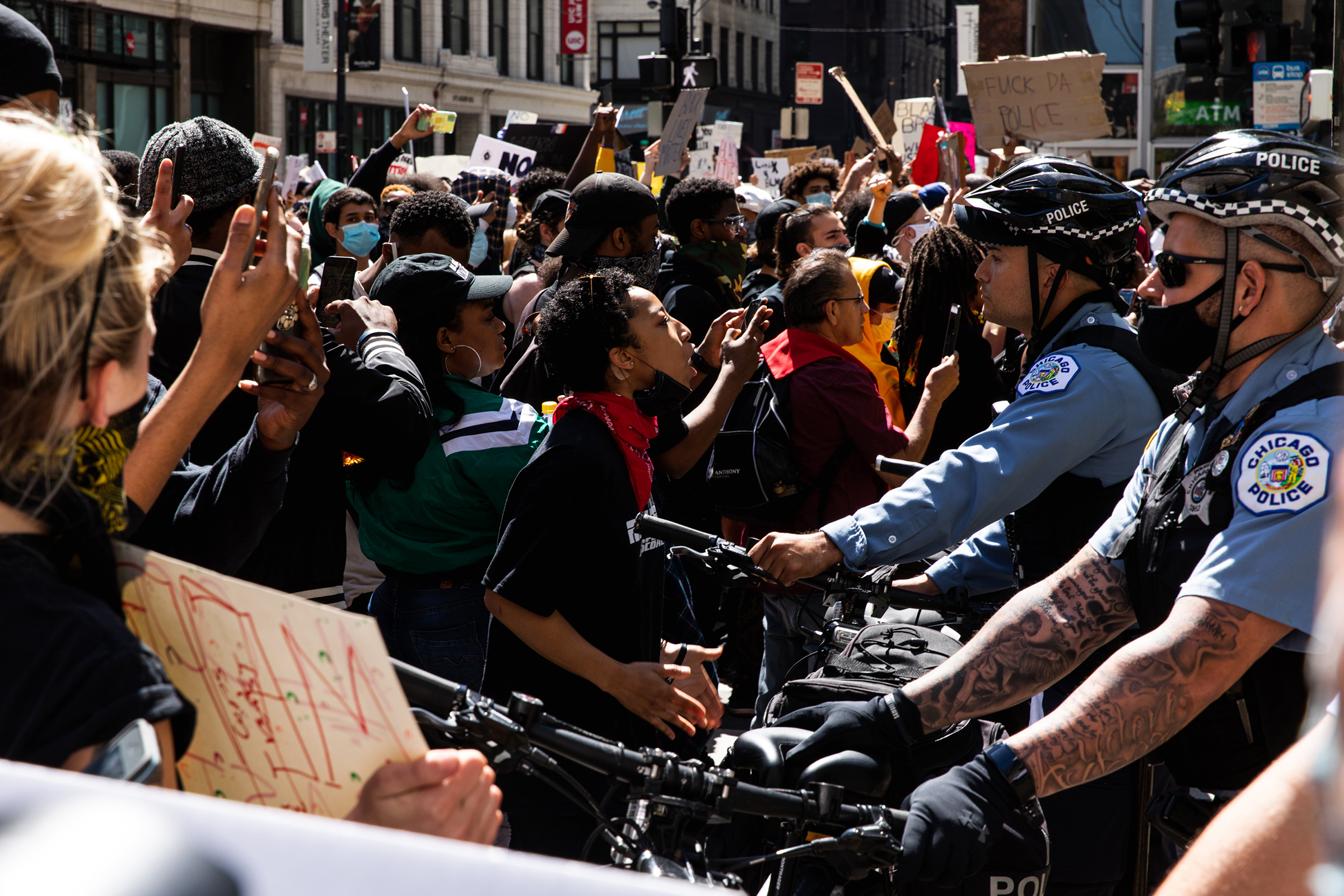 Protesters and Chicago Police clash during protests following the killing of George Floyd on May 30 in Chicago