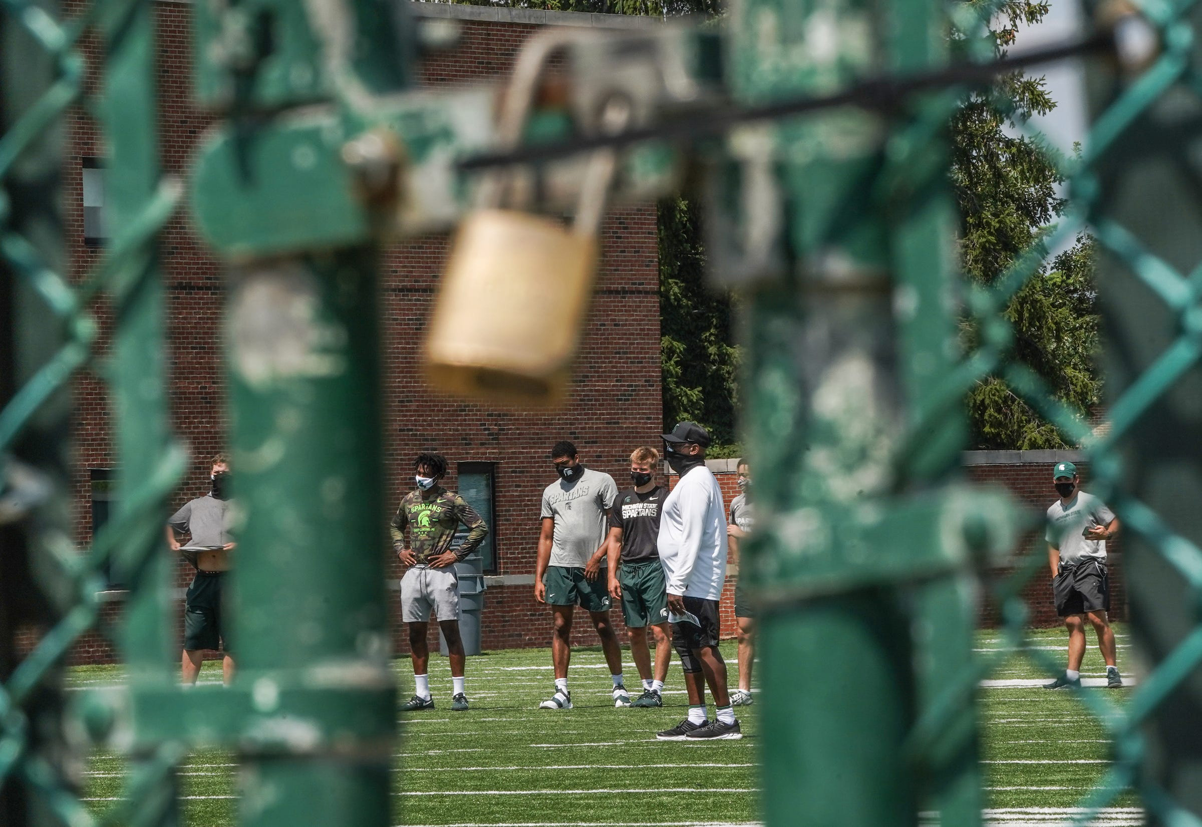 Michigan State University football players at practice a day before the Big Ten canceled the fall season