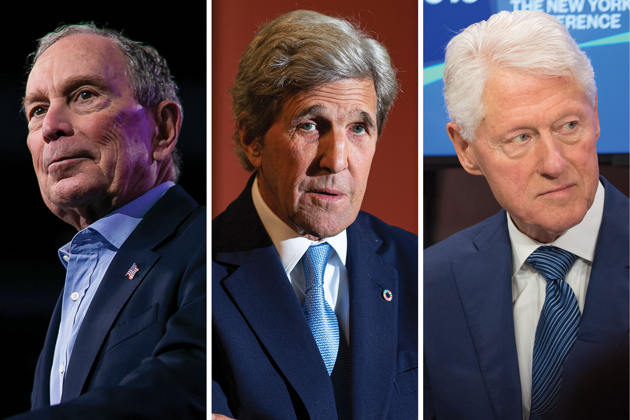 Former Mayor of New York City Mike Bloomberg; Former Secretary of State John Kerry; Former President Bill Clinton