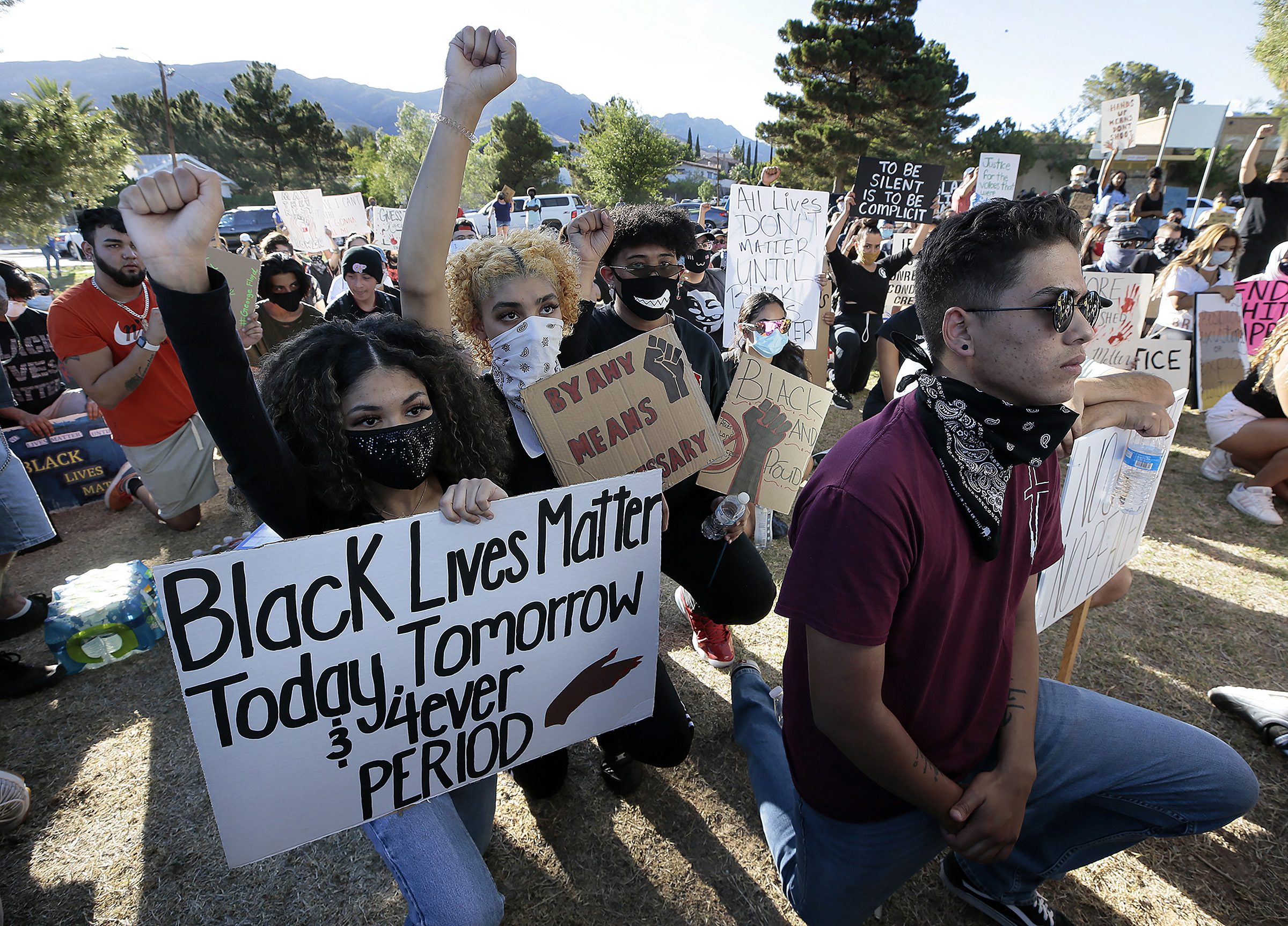 People protest outside the El Paso Police Department headquarters in El Paso, Texas on May, 31, 2020.