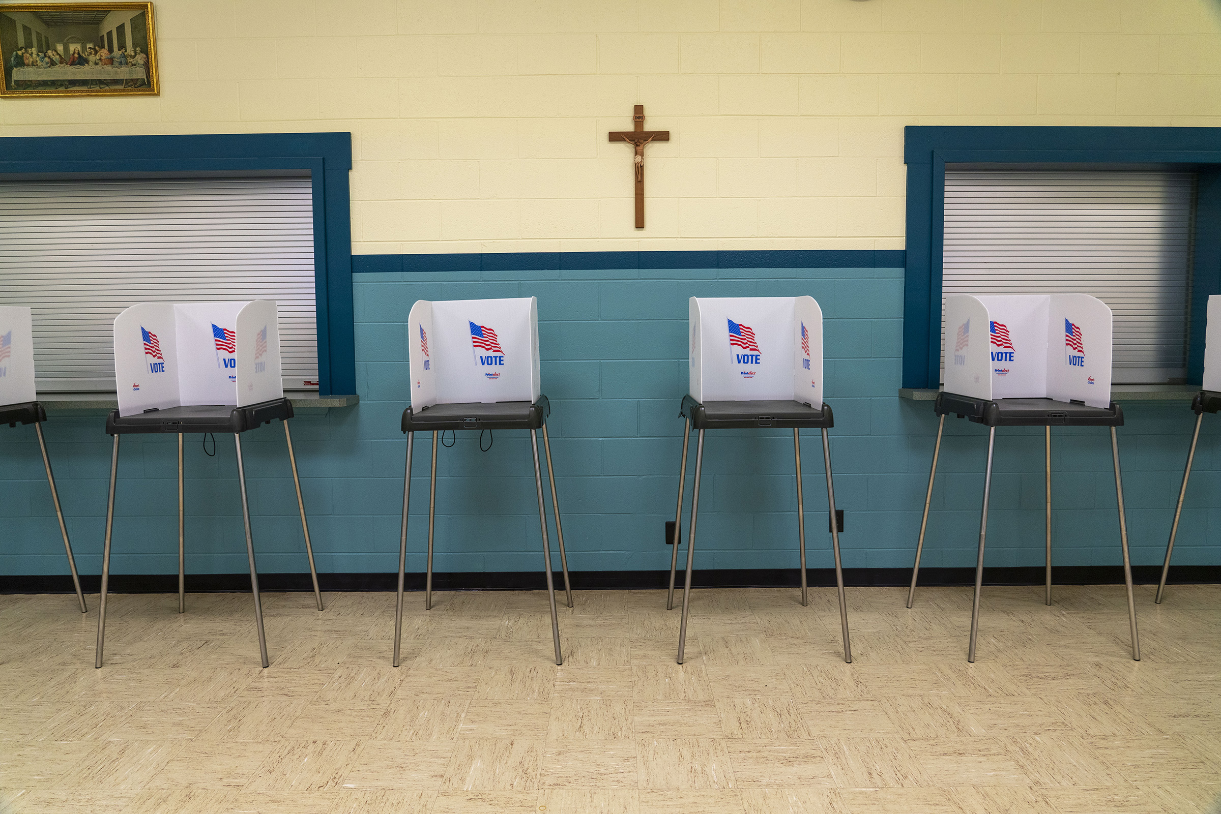 A polling station sits empty at a church in West Milton, Ohio, on March 16, 2020.