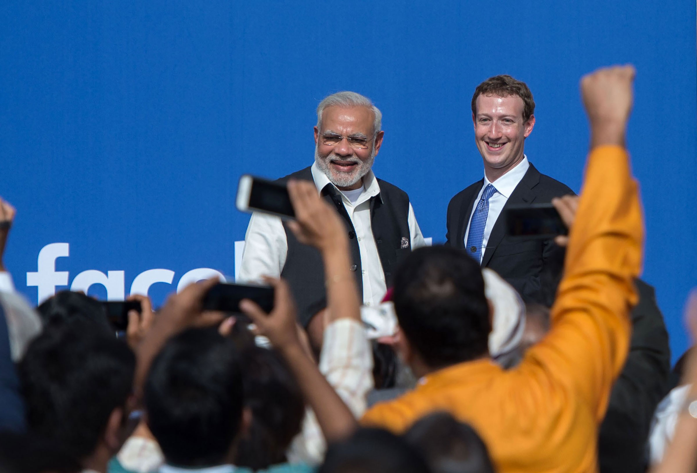 Indian Prime Minister Narendra Modi and Facebook CEO Mark Zuckerberg attend a meeting at Facebook headquarters in Menlo Park, California, on September 27, 2015.