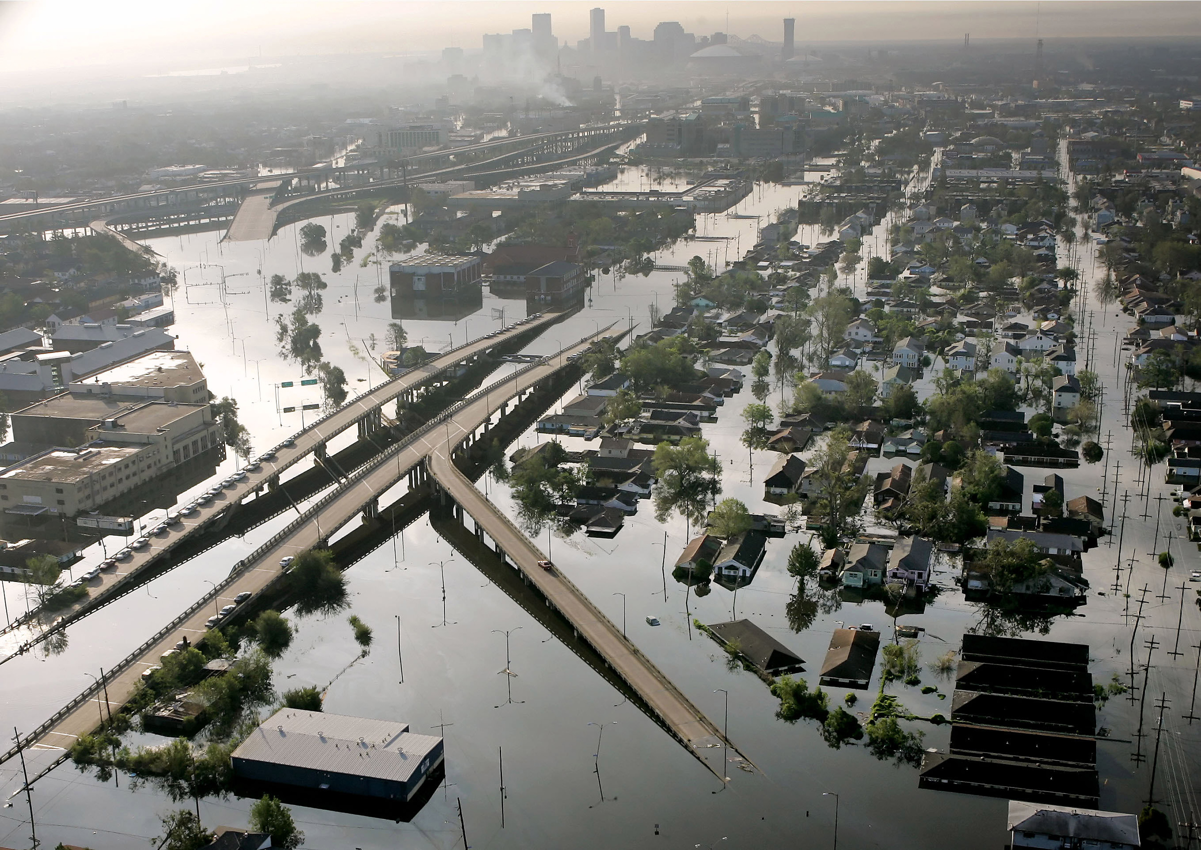 Floodwaters from Hurricane Katrina fill the streets near downtown New Orleans on Aug. 30, 2005