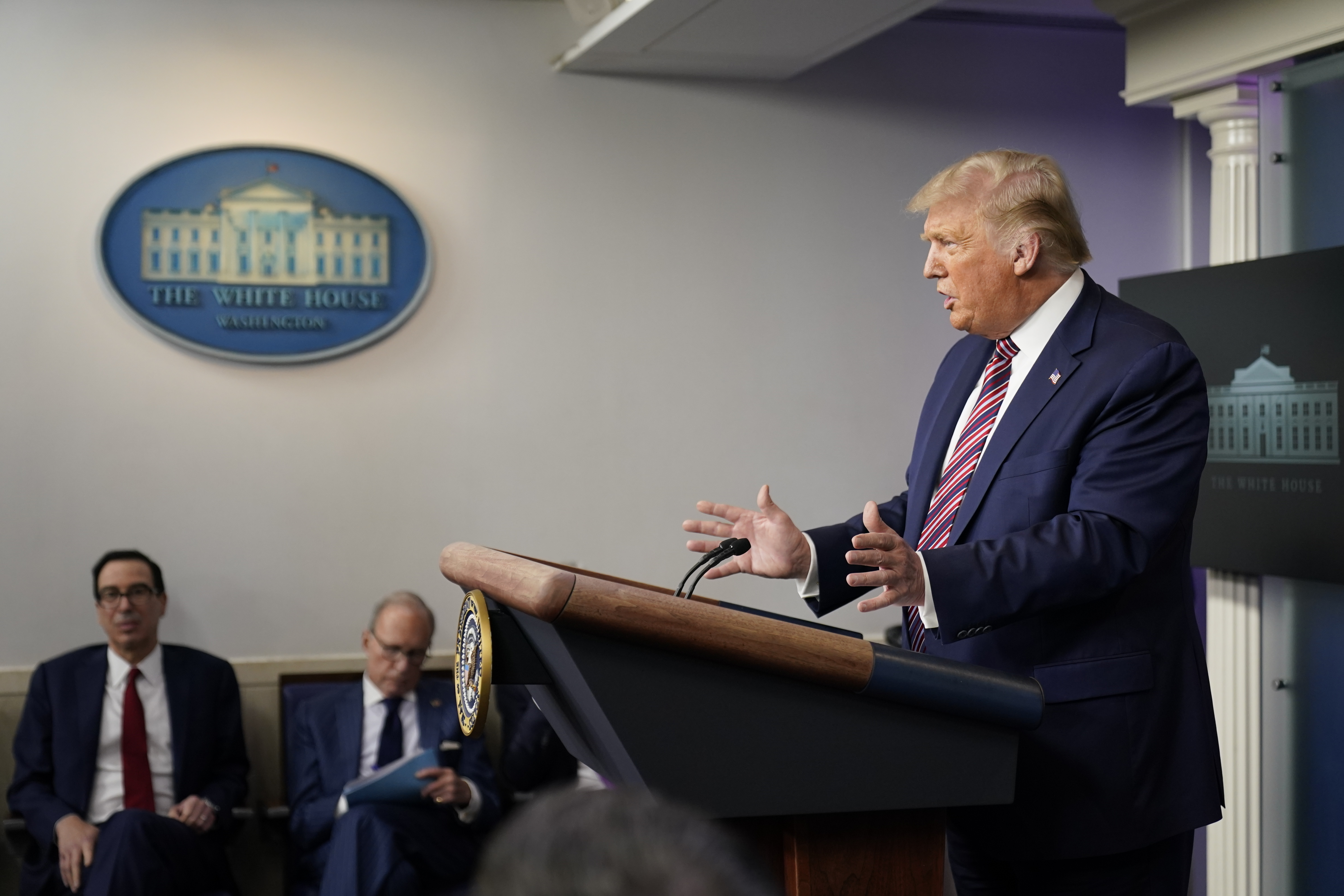 President Donald Trump speaks at a news conference at the White House on Aug. 12, 2020