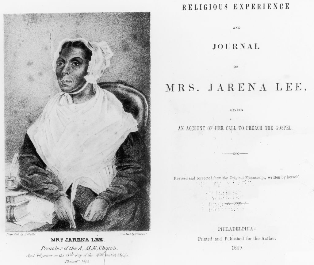 A circa 1849 image of preacher Jarena Lee pictured in the title page of her memoir.