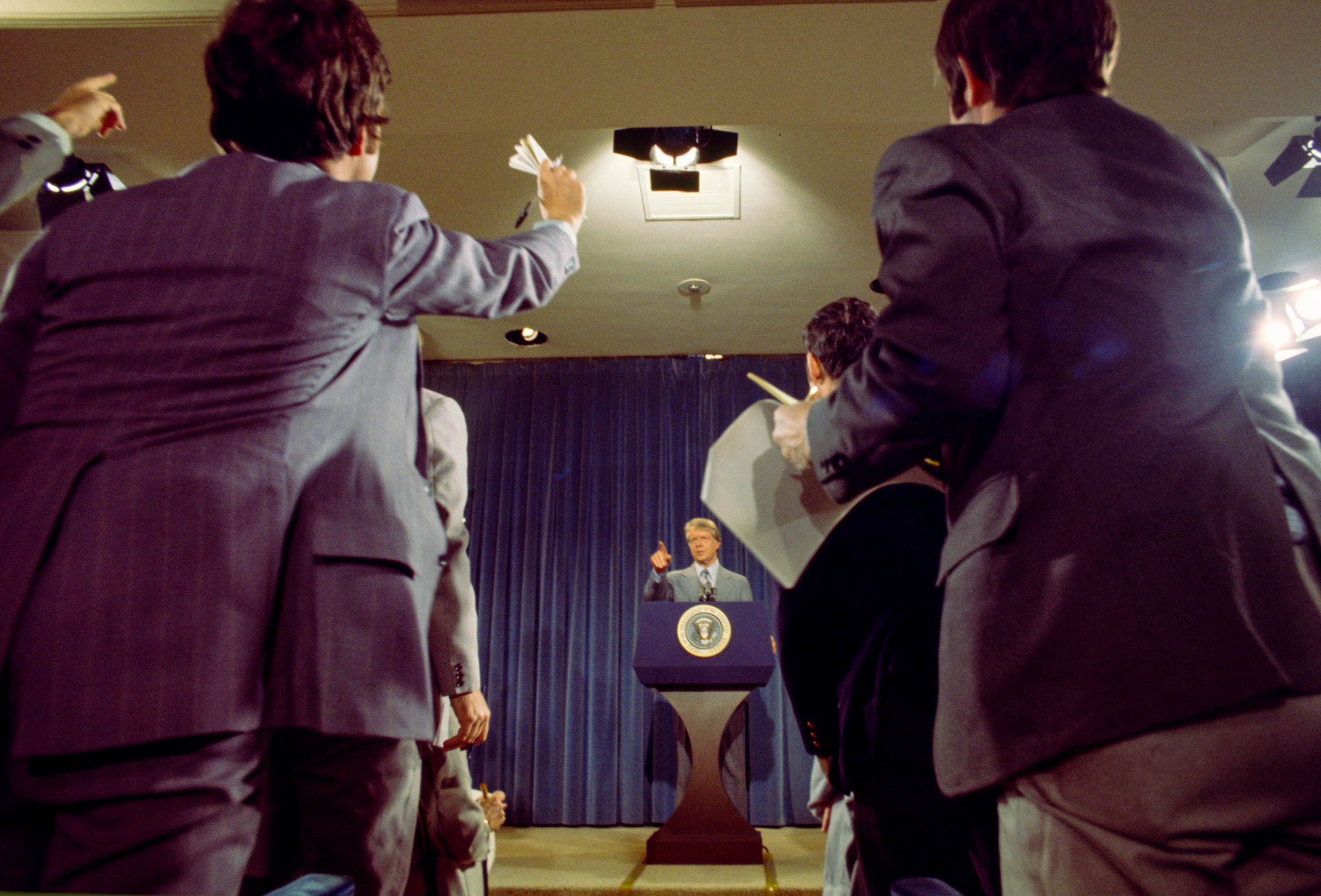 President Jimmy Carter takes questions from members of the press at a presidential news conference at the Old Executive Office Building, on April 15, 1977 in Washington, DC.