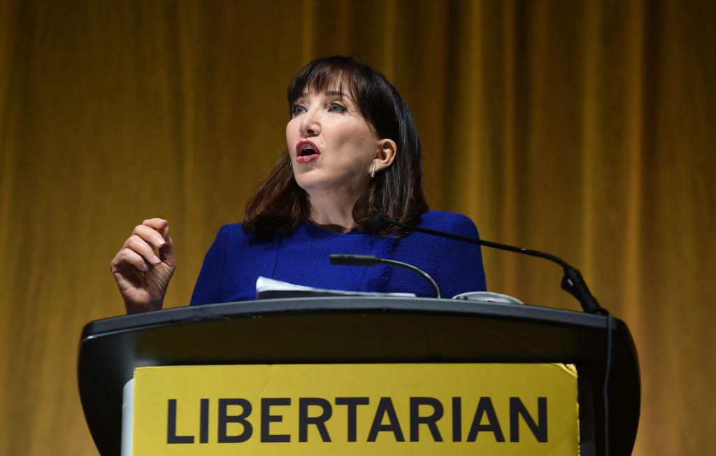 Jo Jorgensen, the 2020 presidential nominee of the Libertarian Party, gives her acceptance speech during the 2020 Libertarian National Convention in Orlando on July 10, 2020.