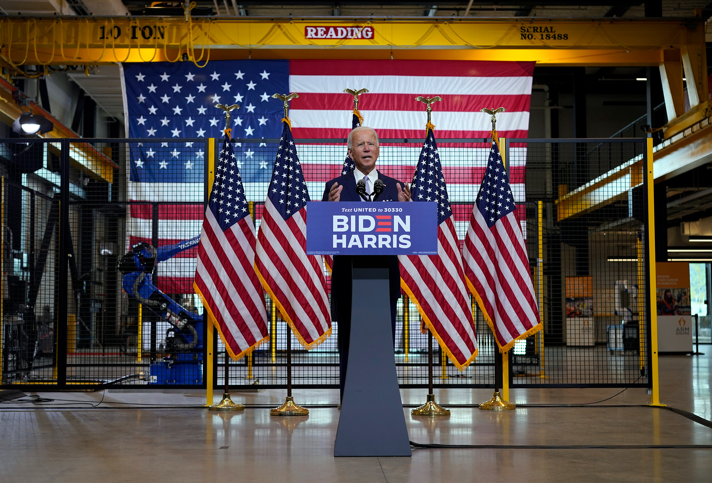 Democratic presidential candidate former Vice President Joe Biden speaks at a campaign event in Pittsburgh, Pa., Aug. 31