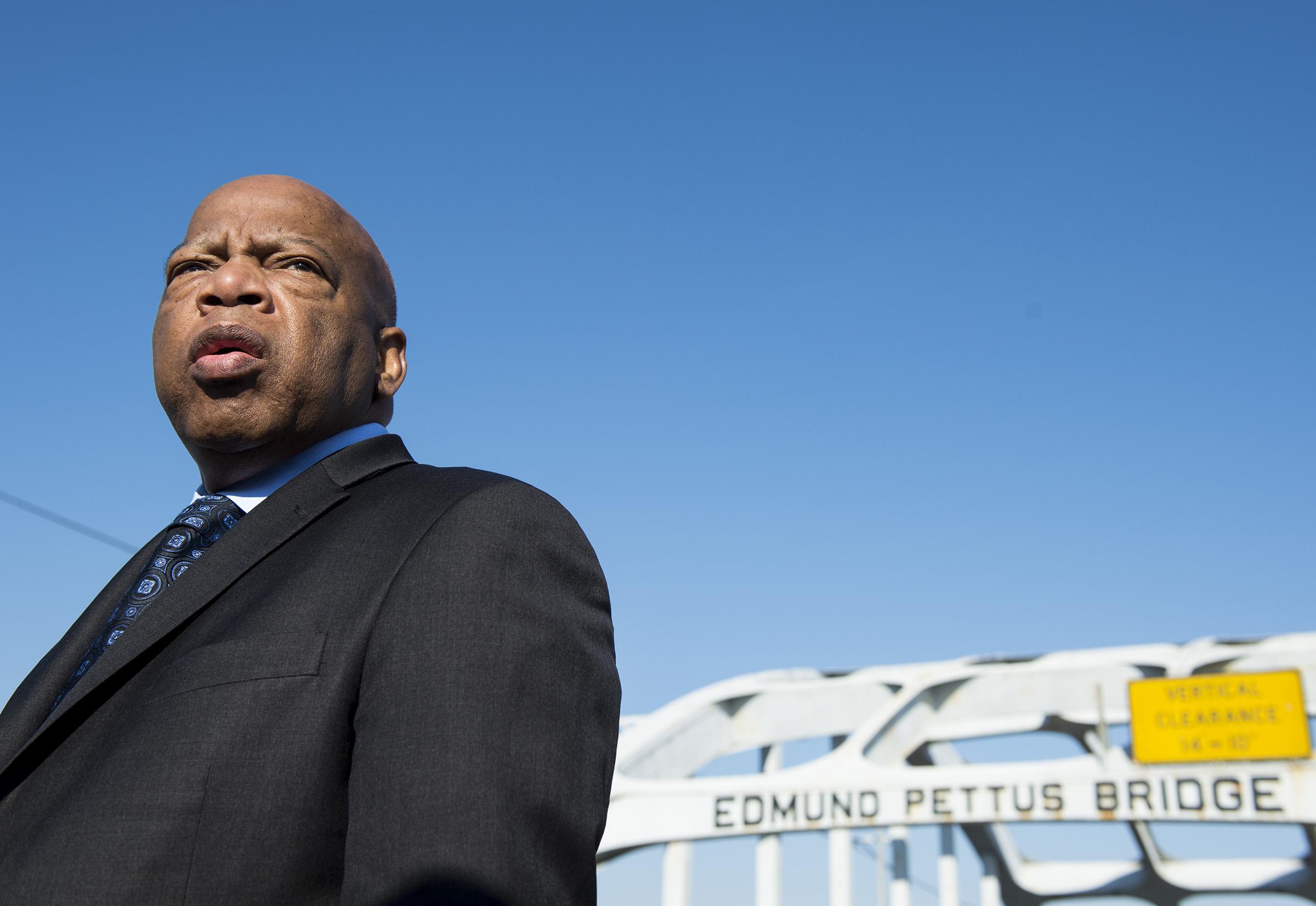Rep. John Lewis, D-Ga., stands on the Edmund Pettus Bridge in Selma, Ala., on Feb. 14, 2015.