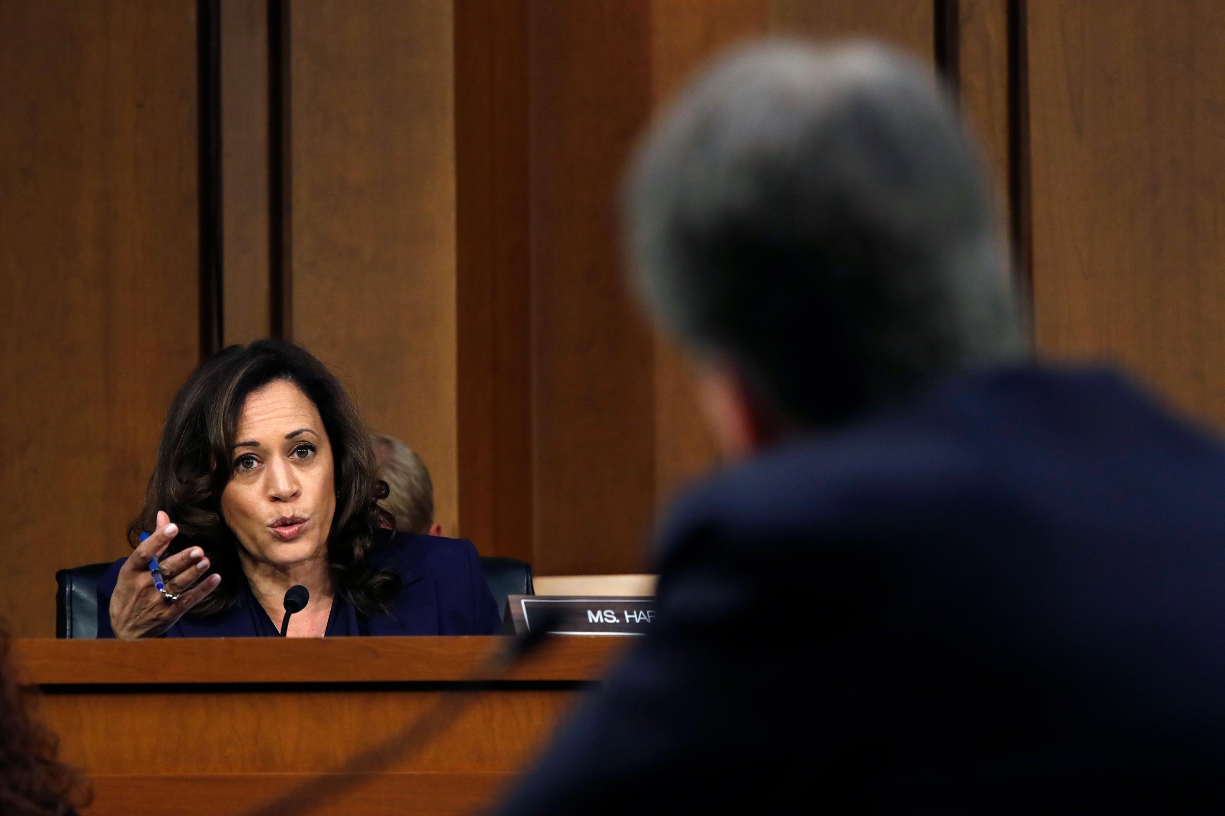 Harris rose in Senate hearings, grilling Supreme Court nominee Brett Kavanaugh in September 2018