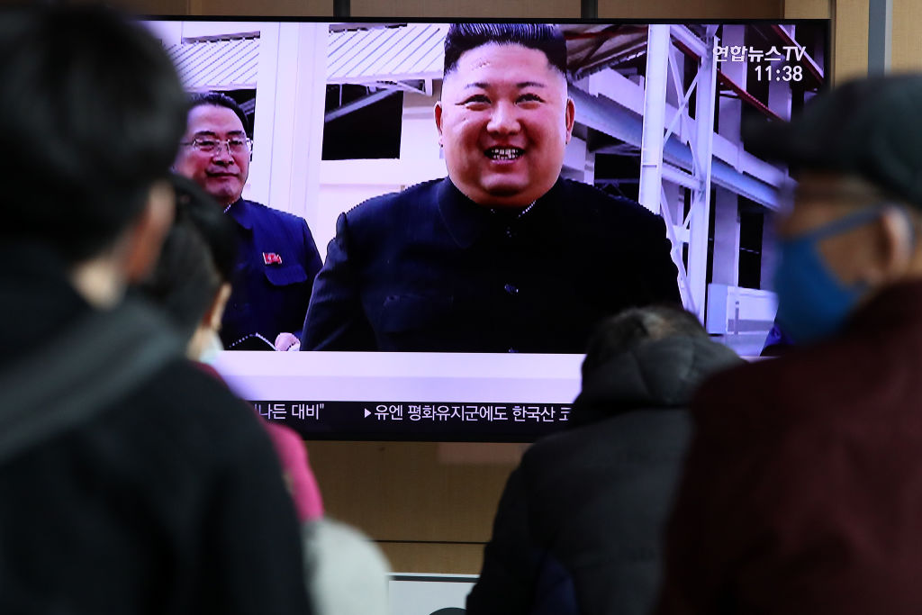 People watch a television broadcast reporting an image of North Korean leader Kim Jong-un during a news program on May 02, 2020 in Seoul, South Korea. North Korean leader Kim Jong-un attended a fertilizer factory completion ceremony, state media reported Saturday, his first public appearance after 20 days of absence that sparked rumors about his health.