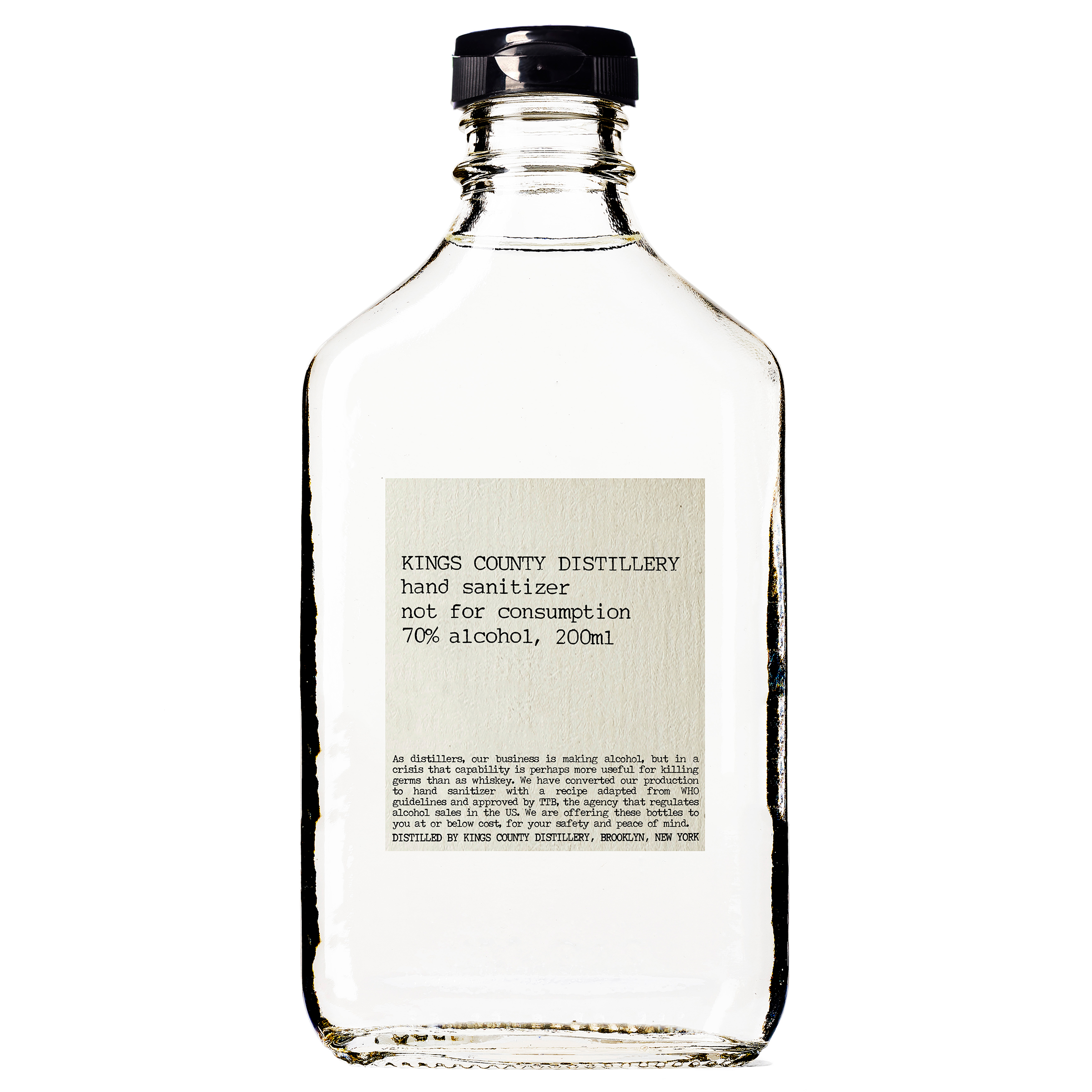 Hand sanitizer made by Kings County Distillery—which usually makes whiskey—in Brooklyn, N.Y. The New-York Historical Society has collected hand sanitizer made by distilleries that converted their operations.