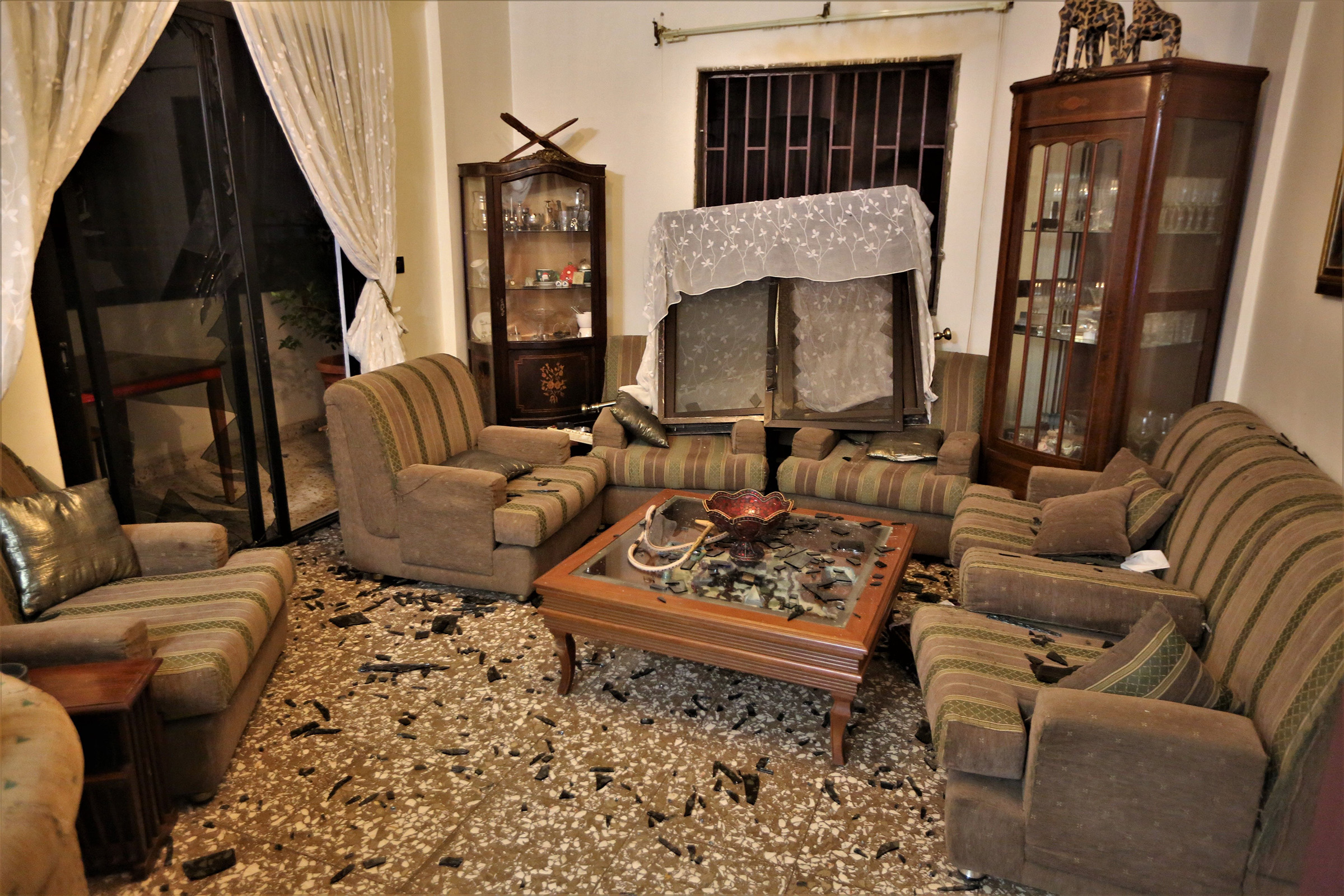 A view of damages at a house in the Burj Abu Haidar area after the explosion.