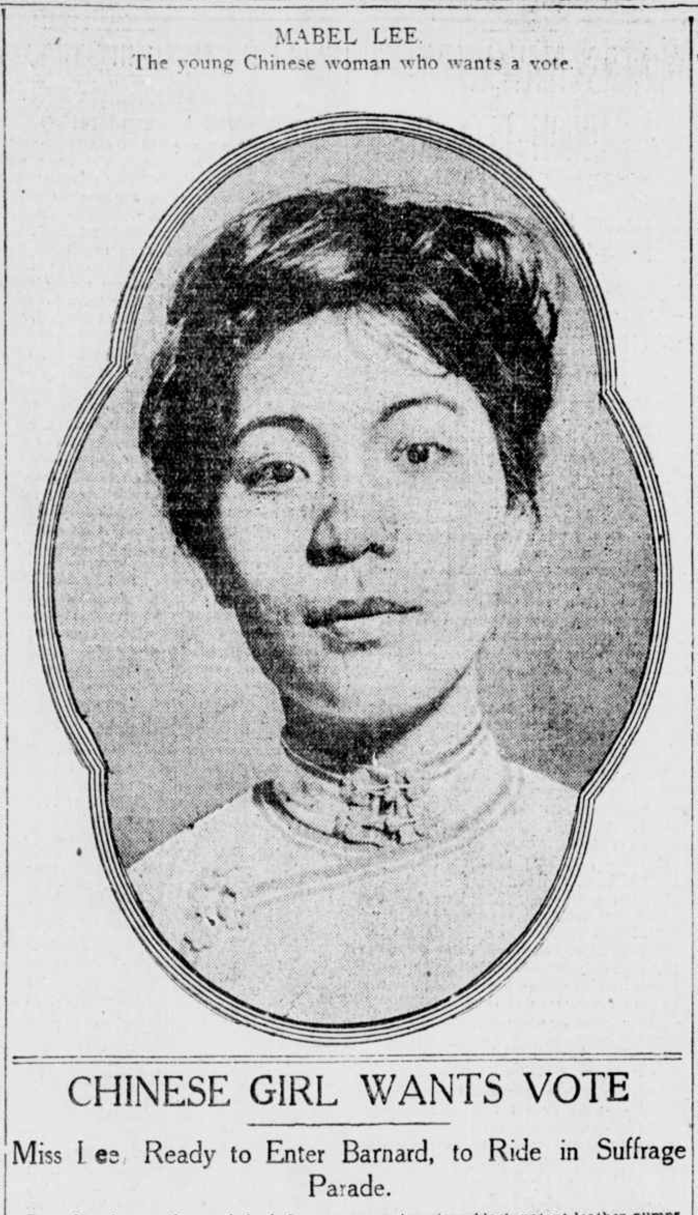 Chinese suffragist Mabel Lee was profiled in the April 13, 1912, edition of the New-York Tribune.