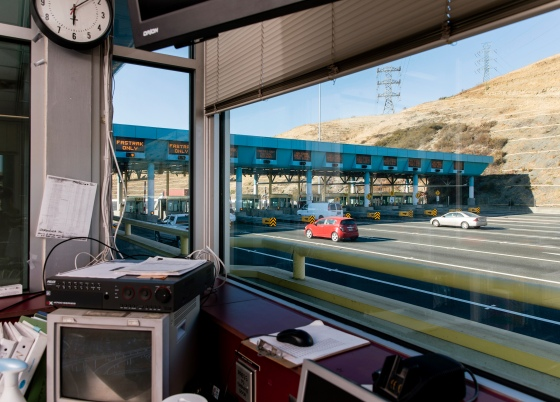 The Carquinez Bridge toll plaza in Vallejo, Calif., is empty of tollbooth collectors on July 30, the result of the state's decision to automate the jobs at the start of the COVID-19 pandemic. For now, workers are being paid in exchange for taking online courses in other fields, but that's not a benefit available to most of the millions of U.S. employees who have lost jobs during the pandemic.