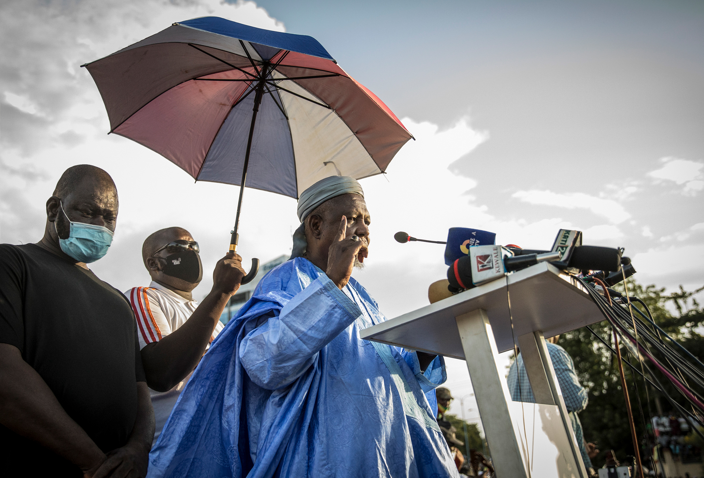 Mahmoud Dicko addresses Malians supporting the recent overthrow of Keita as they gather to celebrate in the capital, Bamako, on Aug. 21