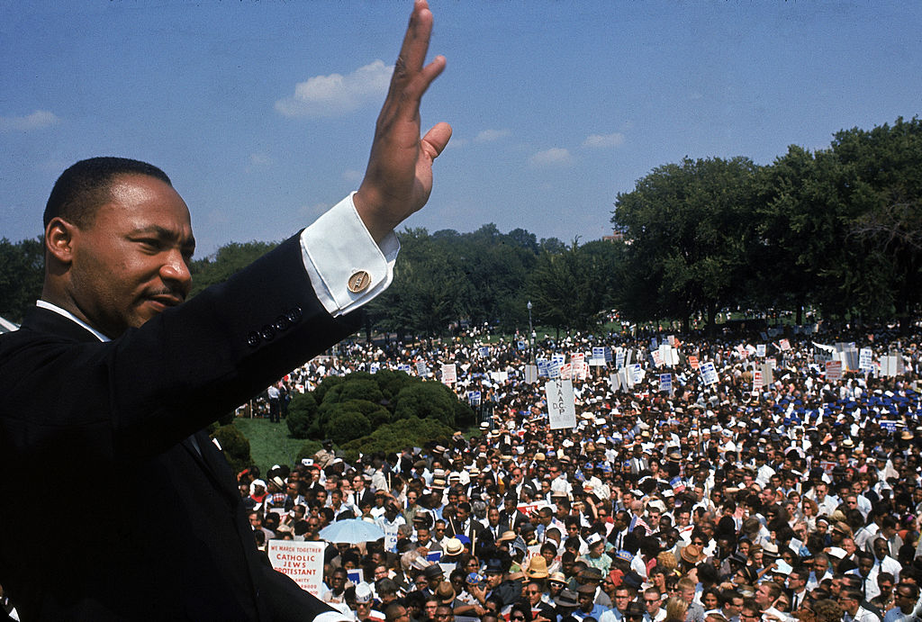 Dr. Martin Luther King Jr. addressing crowd of demonstrators outside the Lincoln Memorial during the March on Washington for Jobs and Freedom on Aug. 28, 1963.