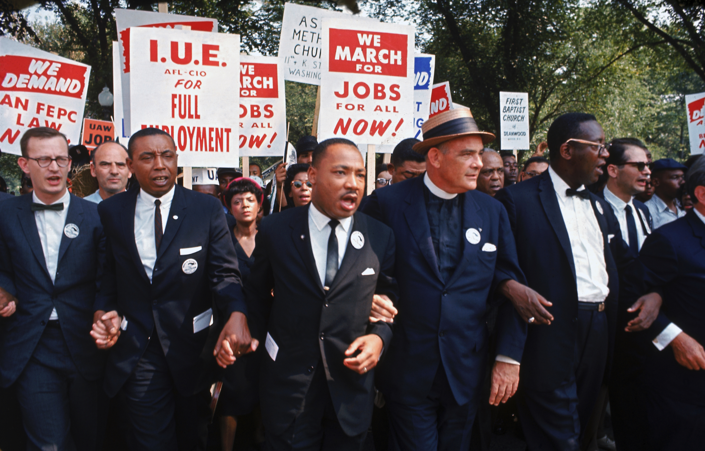 Leaders of the March on Washington for Jobs and Freedom. Left to right: Mathew Ahmann, Floyd McKissick, Martin Luther King Jr., Eugene Carson Blake and Cleveland Robinson