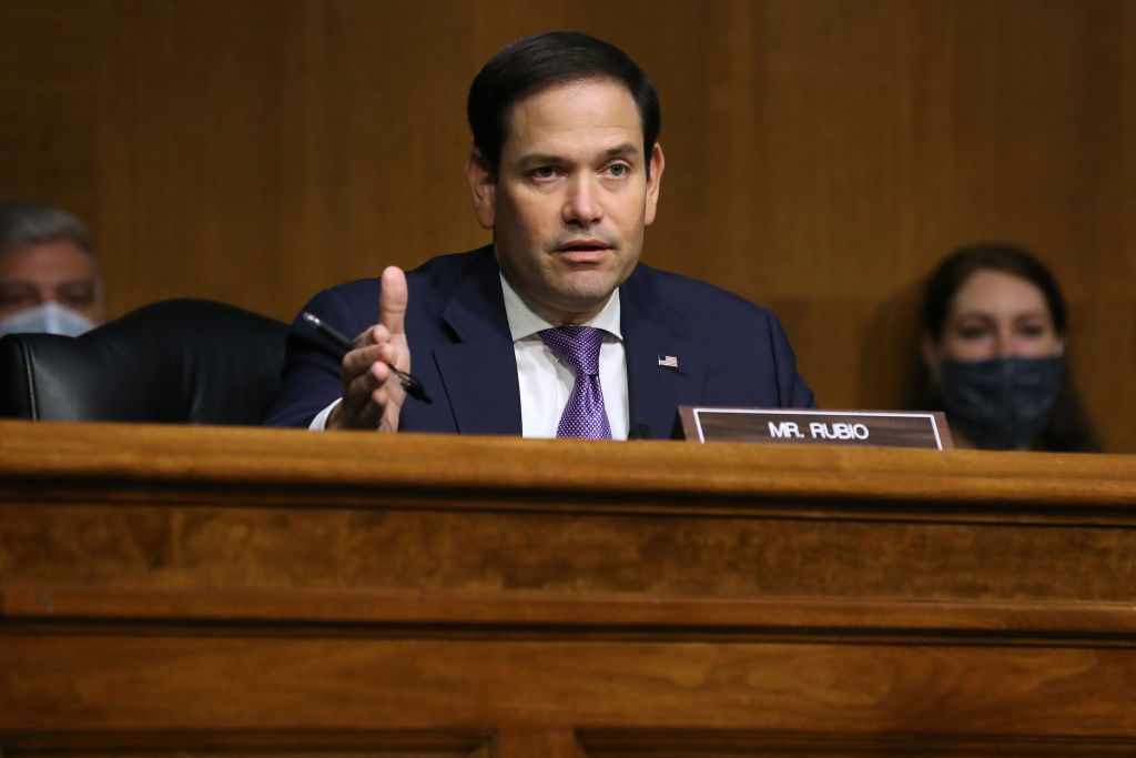 Senate Foreign Relations Committee member Sen. Marco Rubio questions witnesses during a hearing in the Dirksen Senate Office Building on Capitol Hill Aug. 4, 2020 in Washington, D.C.