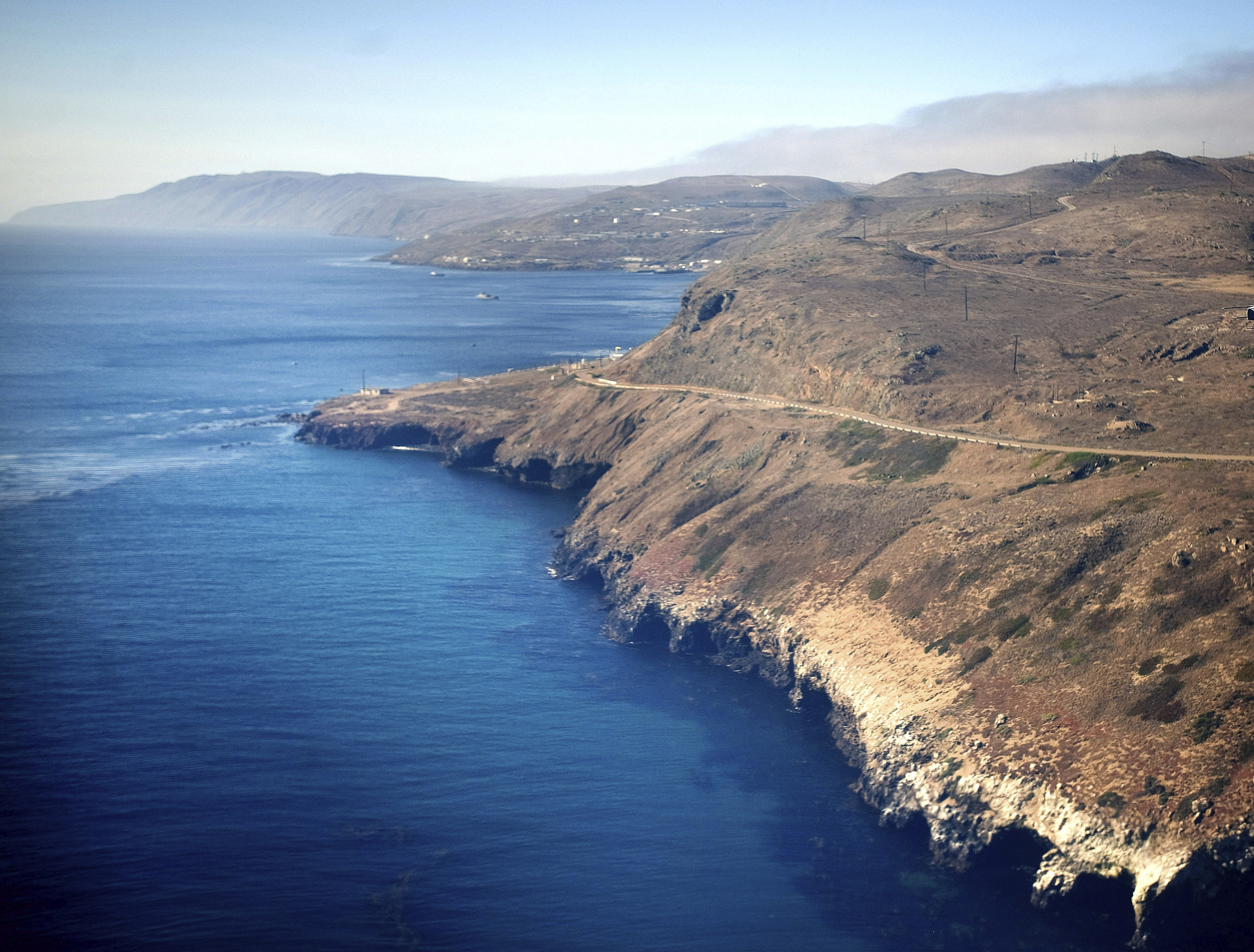 An aerial view of the coast and Pacific Ocean taken flying in to San Clemente Island, in San Diego, on July 16, 2013.