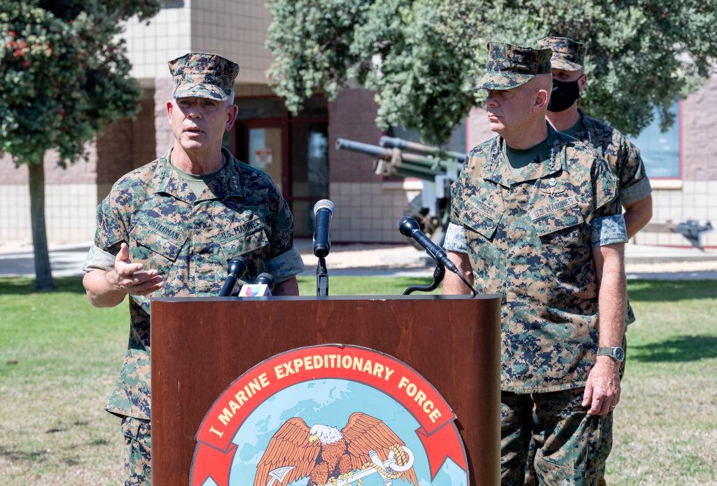Lt. Gen. Joseph Osterman, left, addresses the media as USMC Commandant Gen. David Berger listens during a press conference at Camp Pendleton in Oceanside, Calif., on July 31, 2020.