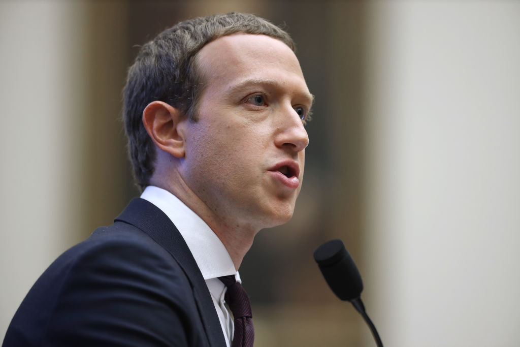 Facebook co-founder and CEO Mark Zuckerberg testifies before the House Financial Services Committee in the Rayburn House Office Building on Capitol Hill Oct. 23, 2019 in Washington, DC.